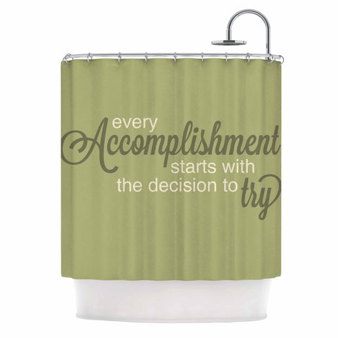 "NL designs ""Accomplishment Green"" Olive Typography Shower Curtain - KESS InHouse"