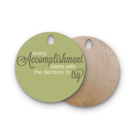 "NL Designs ""Accomplishment Green"" Round Wooden Cutting Board"
