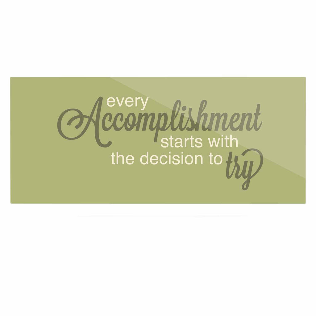 "NL designs ""Accomplishment Green"" Olive Typography Luxe Rectangle Panel - KESS InHouse  - 1"
