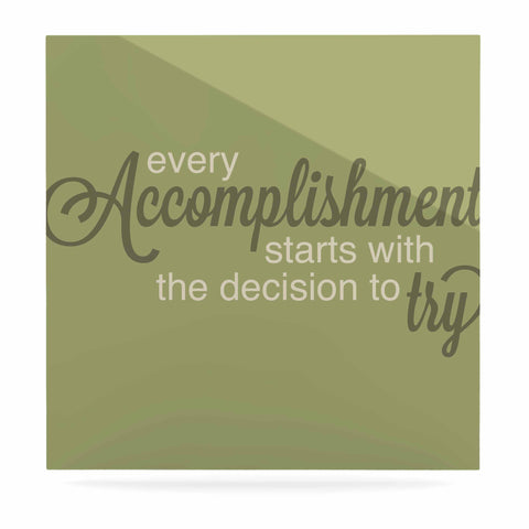 "NL designs ""Accomplishment Green"" Olive Typography Luxe Square Panel - KESS InHouse  - 1"