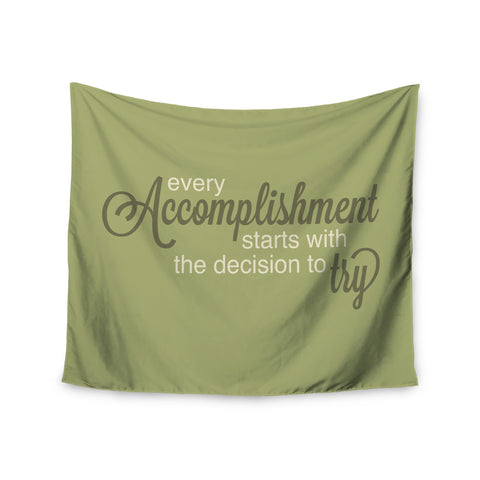 "NL designs ""Accomplishment Green"" Olive Typography Wall Tapestry - KESS InHouse  - 1"