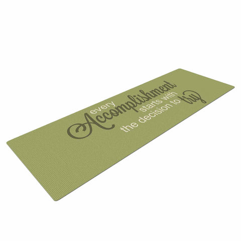 "NL designs ""Accomplishment Green"" Olive Typography Yoga Mat - KESS InHouse  - 1"