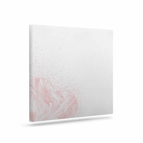 "NL Designs ""Pink Marble Heart"" Pink White Digital Canvas Art"
