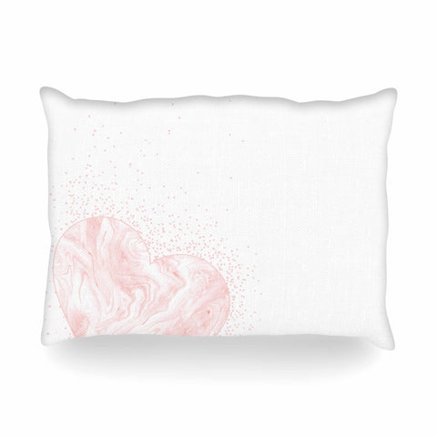"NL Designs ""Pink Marble Heart"" Pink White Digital Oblong Pillow"