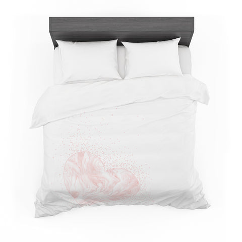 "NL Designs ""Pink Marble Heart"" Pink White Digital Featherweight Duvet Cover"