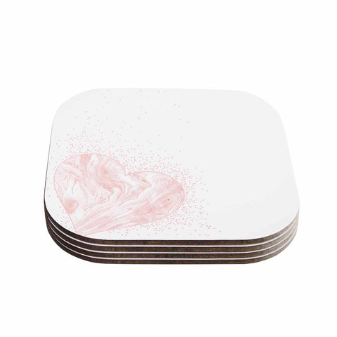 "NL Designs ""Pink Marble Heart"" Pink White Digital Coasters (Set of 4)"