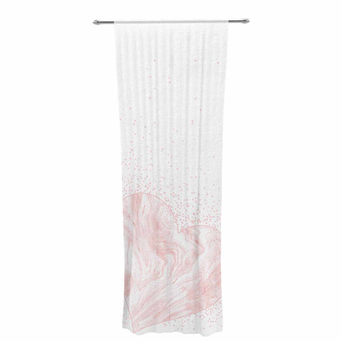 "NL Designs ""Pink Marble Heart"" Pink White Digital Decorative Sheer Curtain"