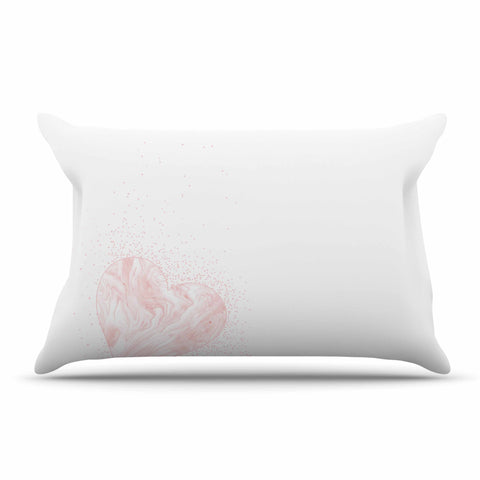"NL Designs ""Pink Marble Heart"" Pink White Digital Pillow Sham"