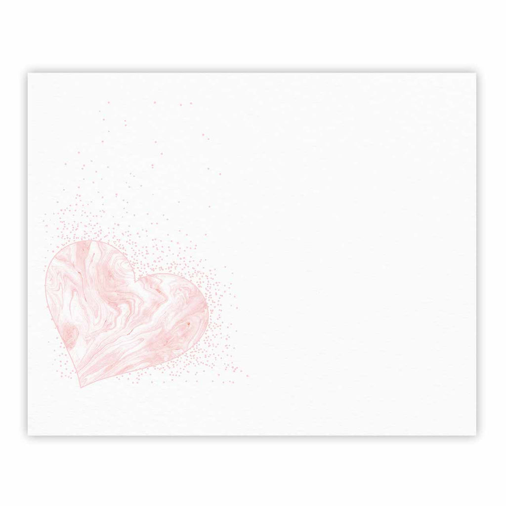 "NL Designs ""Pink Marble Heart"" Pink White Digital Fine Art Gallery Print"