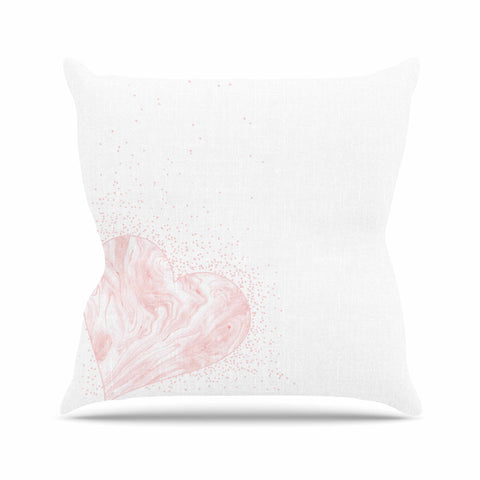 "NL Designs ""Pink Marble Heart"" Pink White Digital Outdoor Throw Pillow"