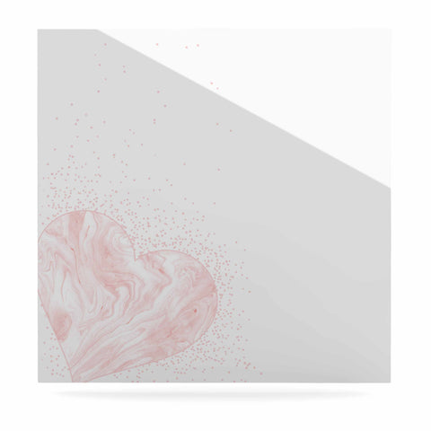"NL Designs ""Pink Marble Heart"" Pink White Digital Luxe Square Panel"