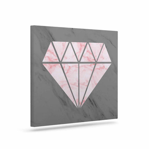 "NL Designs ""Pink And Grey Marble Diamond"" Pink Gray Digital Art Canvas"