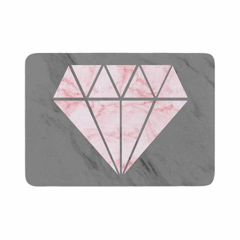 "NL Designs ""Pink And Grey Marble Diamond"" Pink Gray Digital Memory Foam Bath Mat"
