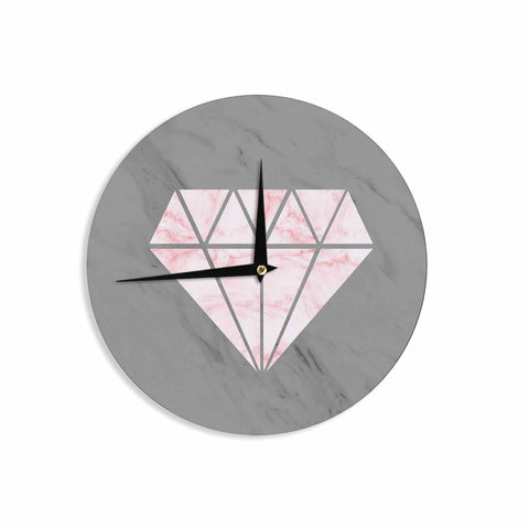 "NL Designs ""Pink And Grey Marble Diamond"" Pink Gray Digital Wall Clock"