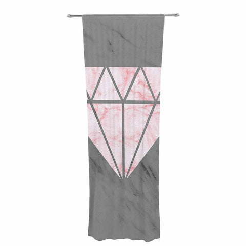 "NL Designs ""Pink And Grey Marble Diamond"" Pink Gray Digital Decorative Sheer Curtain"