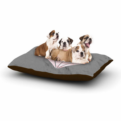 "NL Designs ""Pink And Grey Marble Diamond"" Pink Gray Digital Dog Bed"