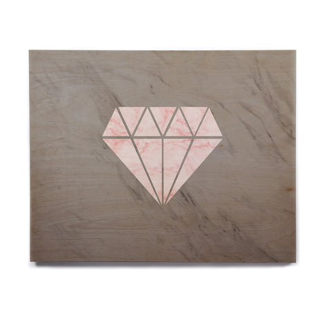 "NL Designs ""Pink And Grey Marble Diamond"" Pink Gray Digital Birchwood Wall Art"