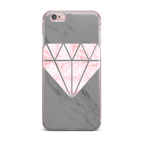 "NL Designs ""Pink And Grey Marble Diamond"" Pink Gray Digital iPhone Case"