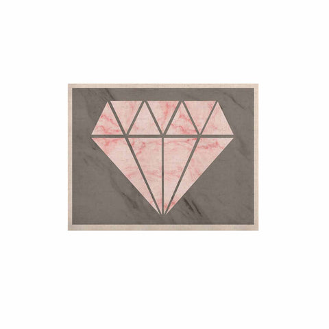 "NL Designs ""Pink And Grey Marble Diamond"" Pink Gray Digital KESS Naturals Canvas (Frame not Included)"