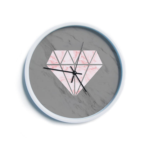 "NL Designs ""Pink And Grey Marble Diamond"" Pink Gray Digital Modern Wall Clock"
