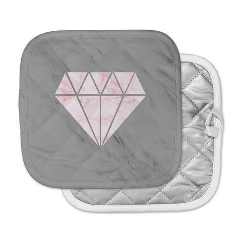 "NL Designs ""Pink And Grey Marble Diamond"" Pink Gray Digital Pot Holder"