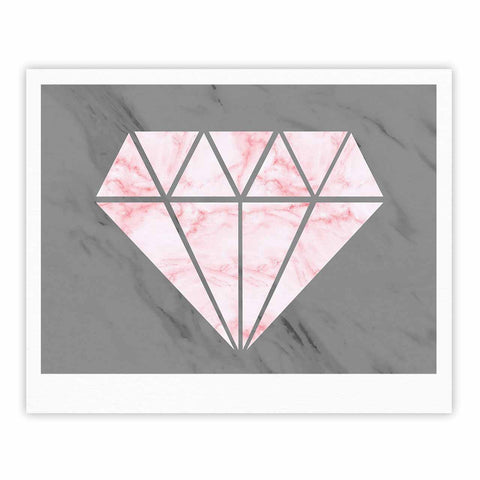 "NL Designs ""Pink And Grey Marble Diamond"" Pink Gray Digital Fine Art Gallery Print"