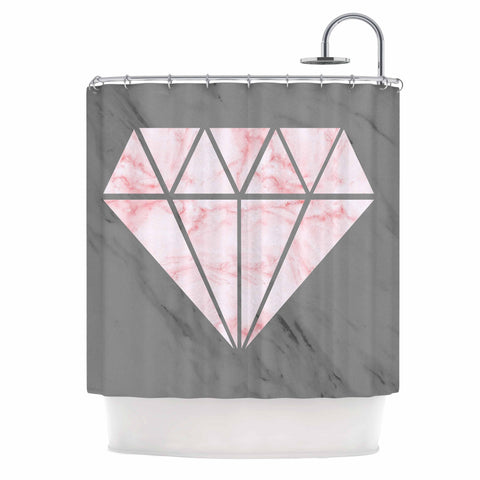 "NL Designs ""Pink And Grey Marble Diamond"" Pink Gray Digital Shower Curtain"