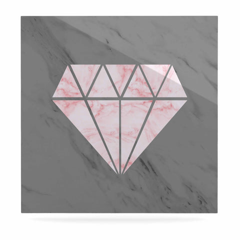 "NL Designs ""Pink And Grey Marble Diamond"" Pink Gray Digital Luxe Square Panel"