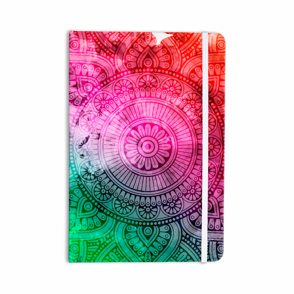 "NL designs ""Rainbow Grunge Mandala"" Multicolor Pink Ethnic Pattern Digital Vector Everything Notebook"