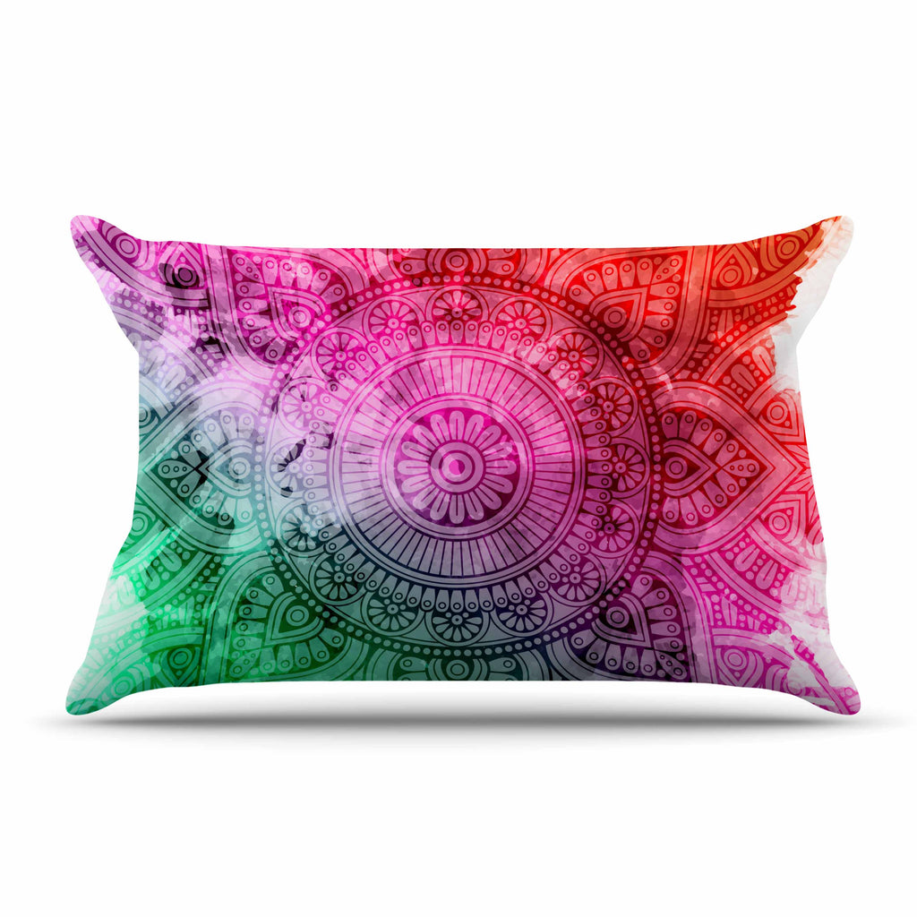 "NL designs ""Rainbow Grunge Mandala"" Multicolor Pink Ethnic Pattern Digital Vector Pillow Sham"