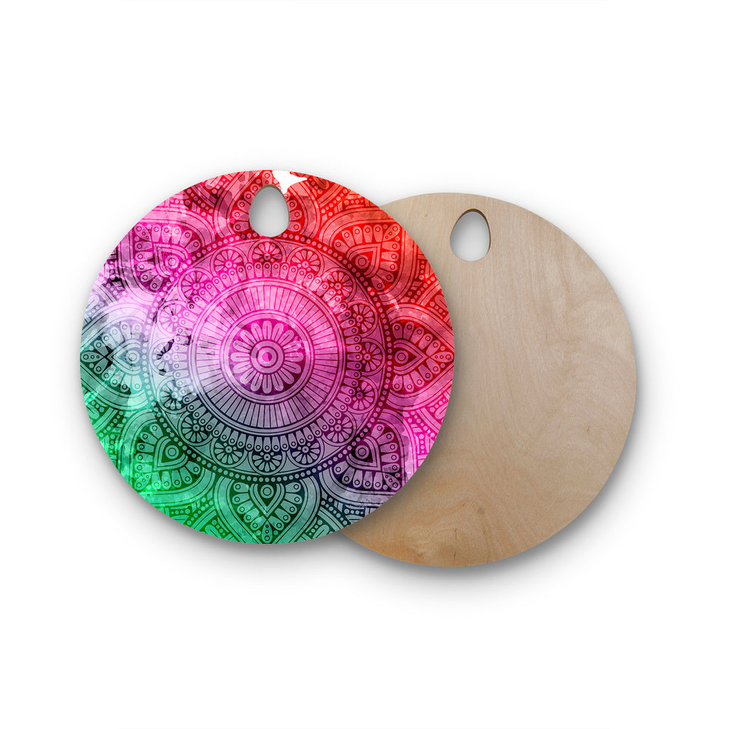 "NL designs ""Rainbow Grunge Mandala"" Multicolor Pink Ethnic Pattern Digital Vector Round Wooden Cutting Board"