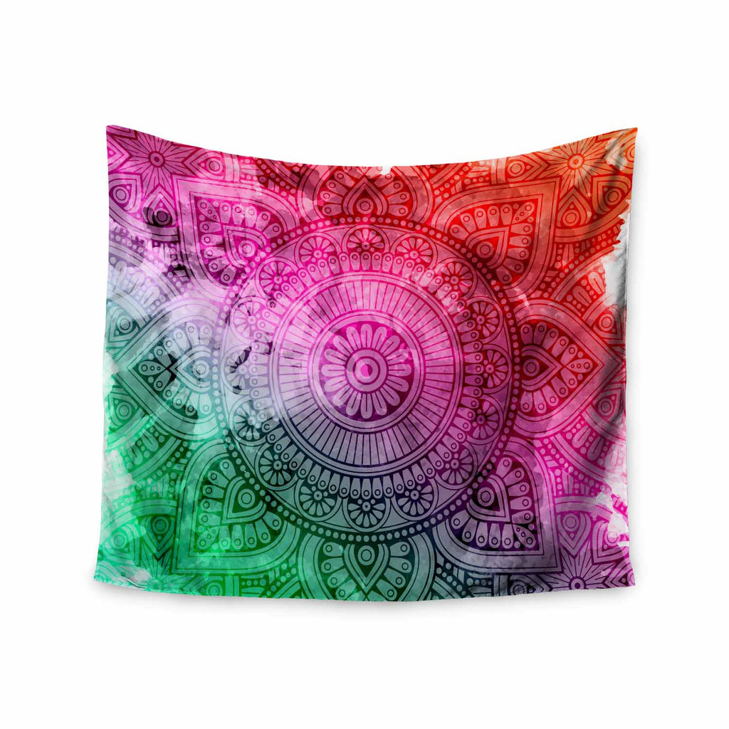"NL designs ""Rainbow Grunge Mandala"" Multicolor Pink Ethnic Pattern Digital Vector Wall Tapestry"