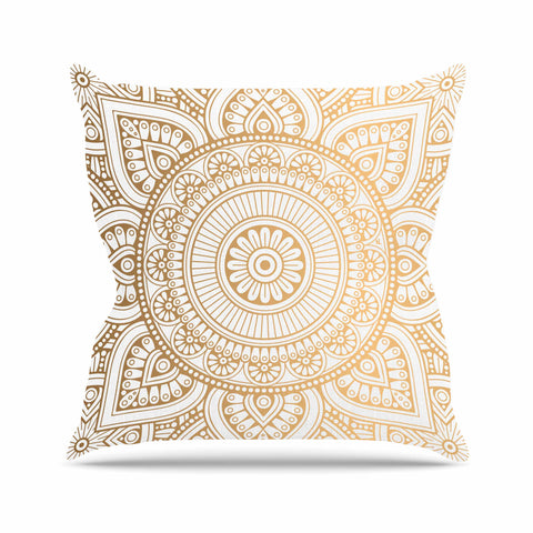 "NL designs ""Golden Mandala"" Gold White Pattern Ethnic Digital Vector Outdoor Throw Pillow"