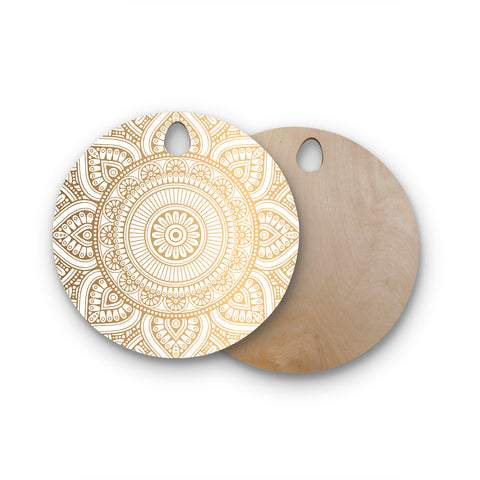 "NL designs ""Golden Mandala"" Gold White Pattern Ethnic Digital Vector Round Wooden Cutting Board"