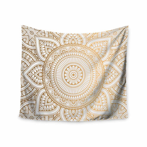 "NL designs ""Golden Mandala"" Gold White Pattern Ethnic Digital Vector Wall Tapestry - Outlet Item"