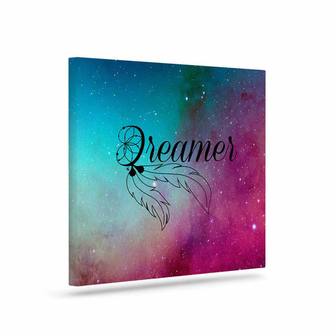 "NL designs ""Dream Catcher Teal Pink Galaxy"" Multicolor Black Typography Celestial Digital Watercolor Art Canvas"