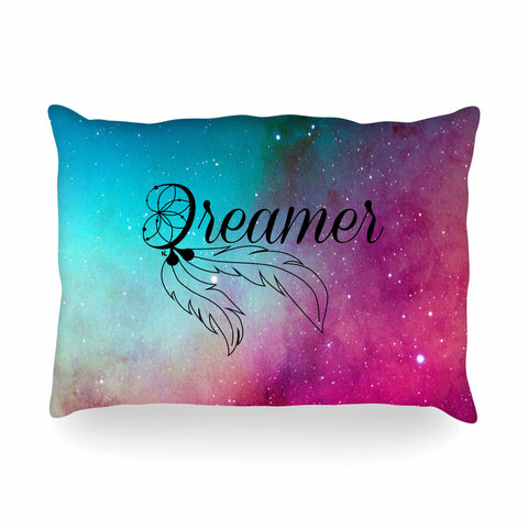"NL designs ""Dream Catcher Teal Pink Galaxy"" Multicolor Black Typography Celestial Digital Watercolor Oblong Pillow"