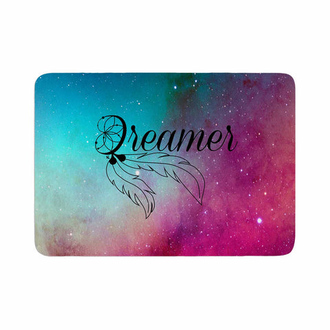 "NL designs ""Dream Catcher Teal Pink Galaxy"" Multicolor Black Typography Celestial Digital Watercolor Memory Foam Bath Mat"