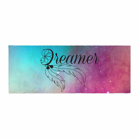 "NL designs ""Dream Catcher Teal Pink Galaxy"" Multicolor Black Typography Celestial Digital Watercolor Bed Runner"