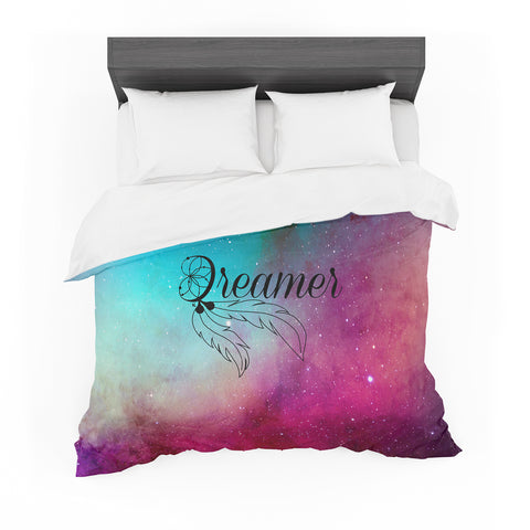 "NL designs ""Dream Catcher Teal Pink Galaxy"" Multicolor Black Typography Celestial Digital Watercolor Featherweight Duvet Cover"