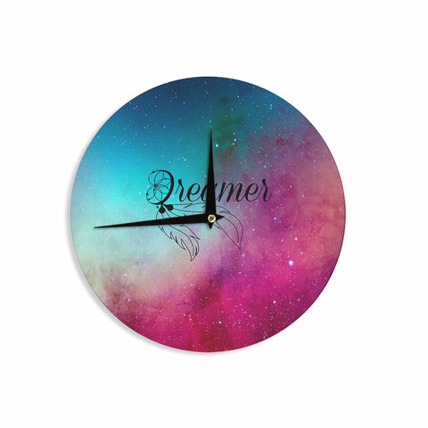 "NL designs ""Dream Catcher Teal Pink Galaxy"" Multicolor Black Typography Celestial Digital Watercolor Wall Clock"