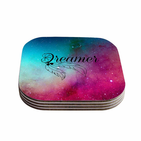 "NL designs ""Dream Catcher Teal Pink Galaxy"" Multicolor Black Typography Celestial Digital Watercolor Coasters (Set of 4)"