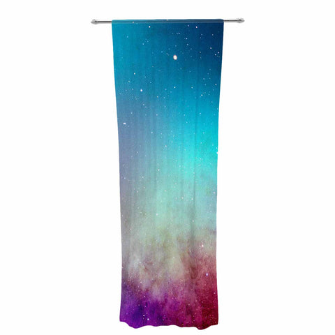 "NL designs ""Dream Catcher Teal Pink Galaxy"" Multicolor Black Typography Celestial Digital Watercolor Decorative Sheer Curtain"