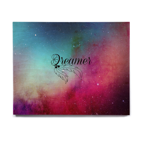 "NL designs ""Dream Catcher Teal Pink Galaxy"" Multicolor Black Typography Celestial Digital Watercolor Birchwood Wall Art"