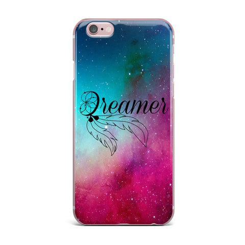"NL designs ""Dream Catcher Teal Pink Galaxy"" Multicolor Black Typography Celestial Digital Watercolor iPhone Case"
