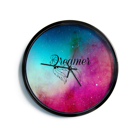 "NL designs ""Dream Catcher Teal Pink Galaxy"" Multicolor Black Typography Celestial Digital Watercolor Modern Wall Clock"
