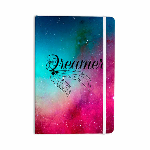 "NL designs ""Dream Catcher Teal Pink Galaxy"" Multicolor Black Typography Celestial Digital Watercolor Everything Notebook"