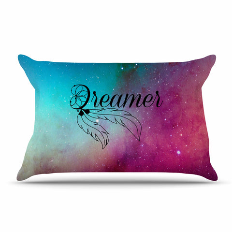 "NL designs ""Dream Catcher Teal Pink Galaxy"" Multicolor Black Typography Celestial Digital Watercolor Pillow Sham"