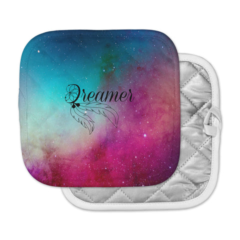 "NL designs ""Dream Catcher Teal Pink Galaxy"" Multicolor Black Typography Celestial Digital Watercolor Pot Holder"