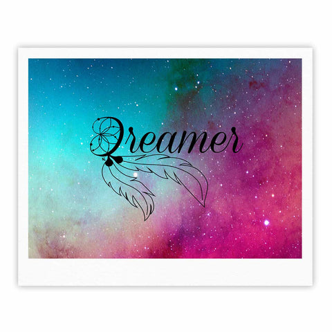 "NL designs ""Dream Catcher Teal Pink Galaxy"" Multicolor Black Typography Celestial Digital Watercolor Fine Art Gallery Print"